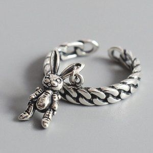 *NEW 925 Sterling Silver Rabbit Adjustable Ring